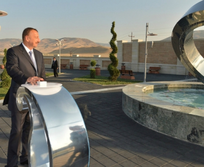 Ilham Aliyev attended a ceremony to commission a water line and sewage network in Siyazan city