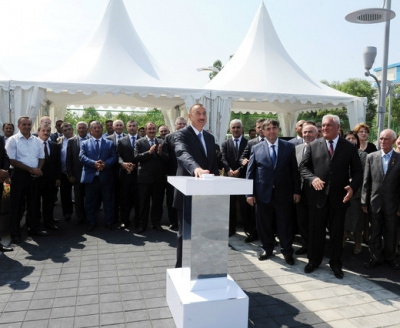 Ilham Aliyev attended the opening ceremony of a sewage system and a water pipeline which will supply the city of Shabran with drinking water